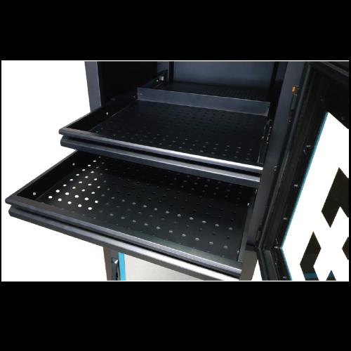 Sliding shelves for dry storage cabinets